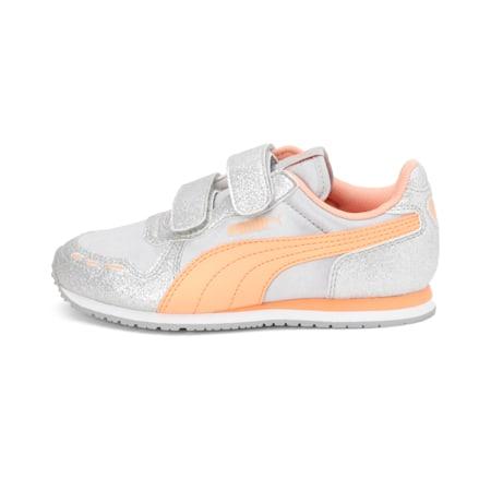 Cabana Racer Glitz V EVA Girl's Shoes, Puma Silver-Cantaloupe-Puma White, small-IND