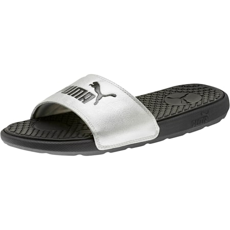 Cool Cat Metallic Women's Slides, Puma Black-Puma Silver, small