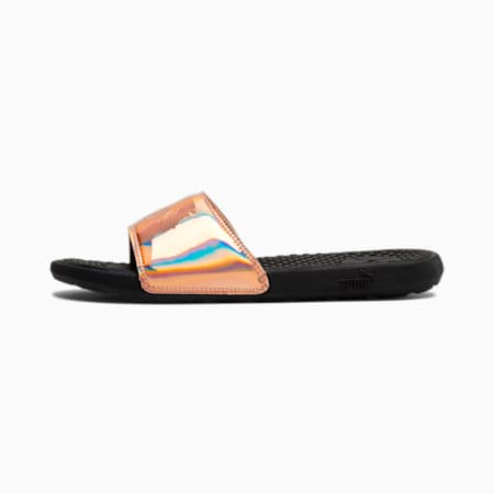 Cool Cat Opalescent Women's Slides, Puma Black-Rose Gold, small