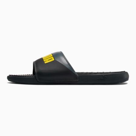 Cool Cat Bold Angled Men's Slides, Black-QUIETSHADE-BlazeYellow, small