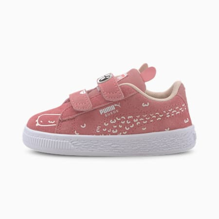 Suede Monster Family Babies' Trainers, Peony-Puma White, small