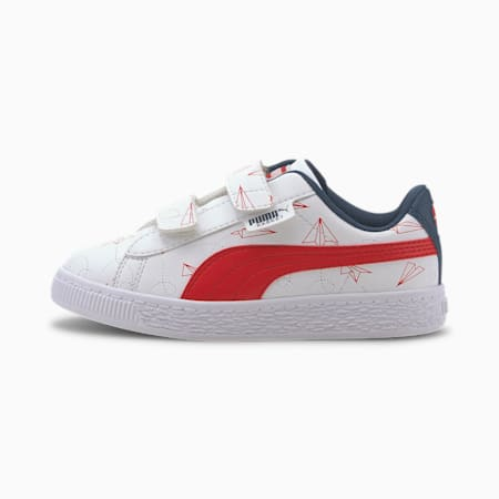 Basket Paper Plane Little Kids' Shoes, Puma White-High Risk Red, small