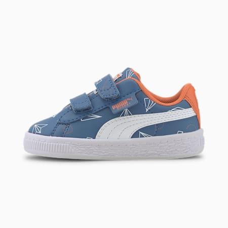 Basket Paper Plane Toddler Shoes, Bright Cobalt-Puma White, small