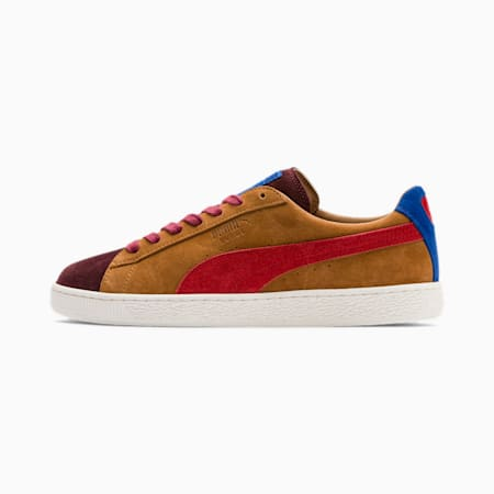 Suede MIE Men's Sneakers, B. Brown-T. Red-H. R. Red, small