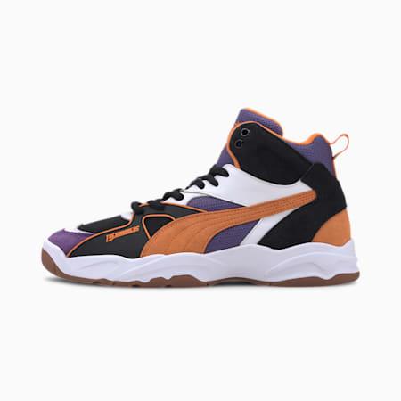 PUMA x THE HUNDREDS Performer Mid Sneaker, Puma Black-Persimmon Orange, small