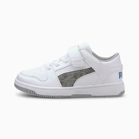 PUMA Rebound LayUp Garment Washed Little Kids' Shoes, White-Black-BCobalt-HighRise, small