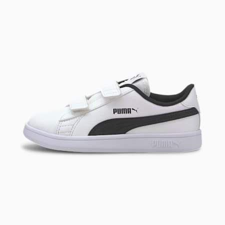 Smash V2 Garment Wash Kids' Trainers, Puma White-Puma Black, small-SEA
