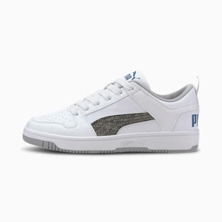PUMA Rebound LayUp Garment Washed Sneakers JR, White-Black-Bright Cobalt, small