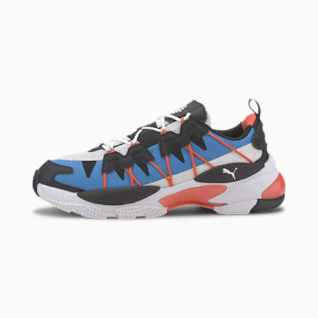 LQD CELL Omega Striped Kit Trainers, Puma Black-Palace Blue, small