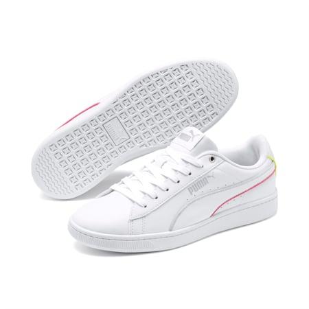 PUMA Vikky v2 Hem Girls' Sneakers JR, Wht-Svr-Purple-Bubblegum-Lme, small