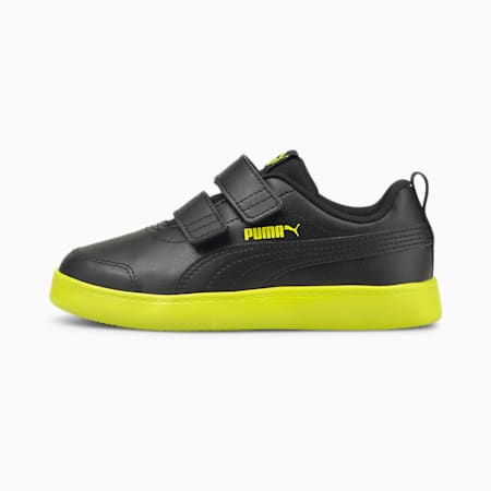 Courtflex V2 Kids' Sneakers, Puma Black-Nrgy Yellow, small-IND