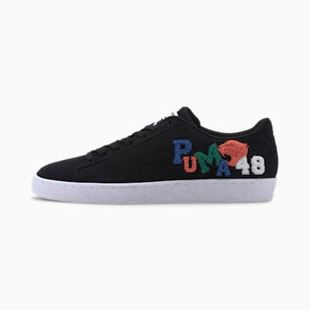 Suede Classic Badges Men's Sneakers, Puma Black-Puma White, small