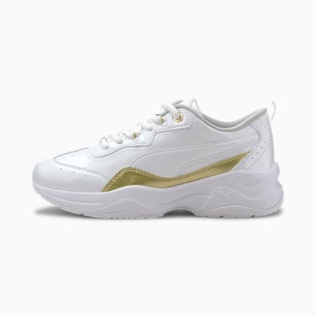 Cilia Patent Youth Trainers, White-Team Gold-Gray Violet, small