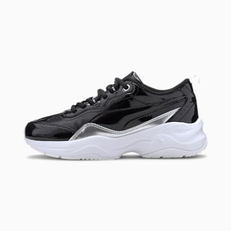 Cilia Patent Youth Sneaker, Puma Black-Puma Silver-White, small