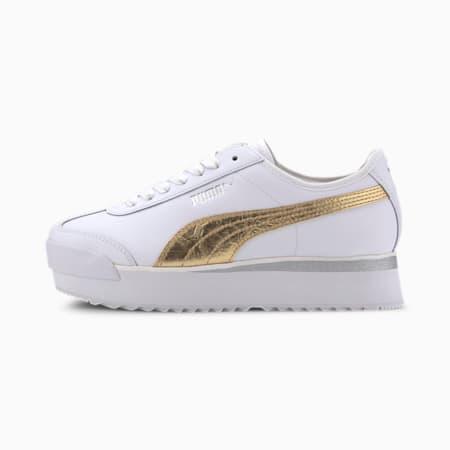 Roma Amor Metal Women's Sneakers, Puma White-Gold, small
