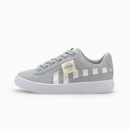 Basket Canvas T4C Kids' Trainers, High Rise-Green Glimmer, small