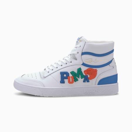 Zapatos deportivos de caña media Ralph Sampson Badges para hombre, P Wht-Gry Violet-Palace Blue, pequeño