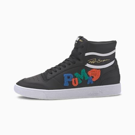 Ralph Sampson Mid Badges Sneaker, Puma Blk-GrayViolet-Puma Wht, small