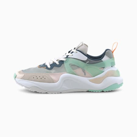 Rise Women's Sneakers, White-Mist Green-Cantaloupe, small