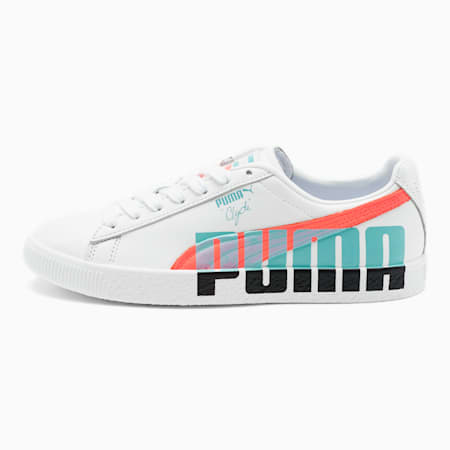 Clyde Logo Women's Sneakers, Puma White-Pink Alert, small