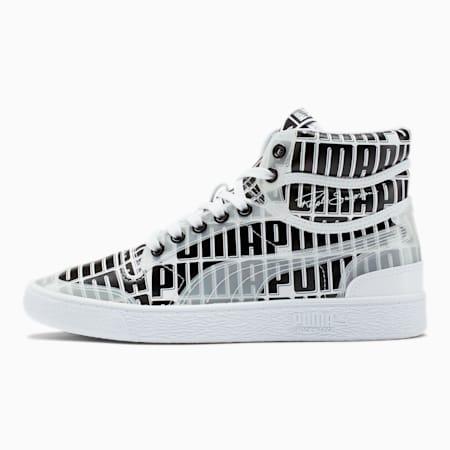 Zapatos deportivos de media caña con logo Ralph Sampson de mujer, Puma White-Puma Black, pequeño