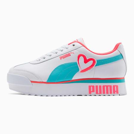 Roma Amor Heart Women's Sneakers, White-Milky Blue-Pink Alert, small