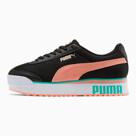 Roma Amor Mesh Mix Women's Sneakers, Black-Br Peach-Ble Turquoise, small
