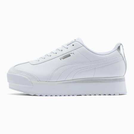 Zapatos deportivosRoma Amor Leather Metallic para mujer, White-Whisper White-Silver, pequeño