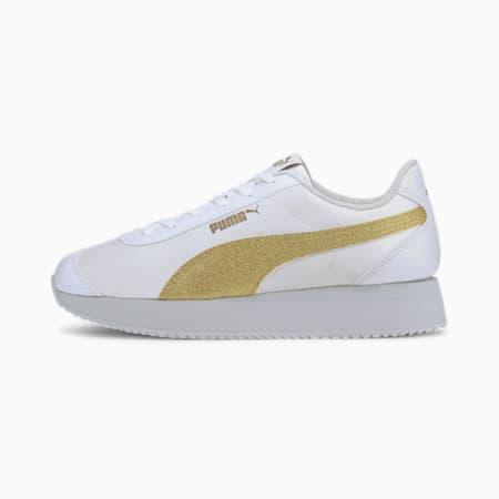 Turino Stacked Glitter SoftFoam+ Women's Sneakers, Puma White-Puma Team Gold, small-IND