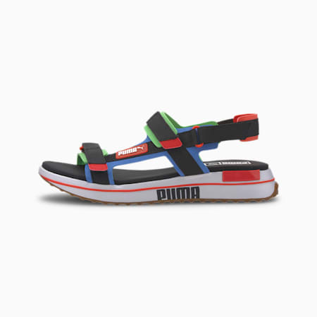 Future Rider Game On Sandals, Palace Blue-PB-Fluo Green-G, small
