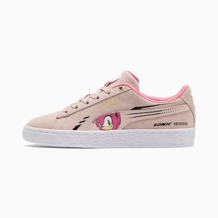 PUMA x SONIC Suede Youth Trainers, Rosewater, small-SEA
