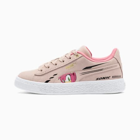 PUMA x SONIC Suede Kids' Trainers, Rosewater, small