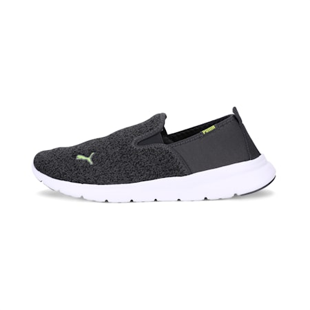 DriveEssential Slip On MU IDP Walking Shoes, Dark Shadow-Limepunch, small-IND
