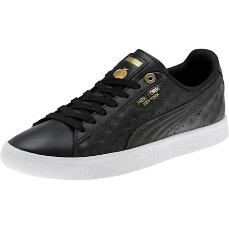 Clyde NYC Gold Apple Sneakers, Puma Black-Puma Team Gold, small