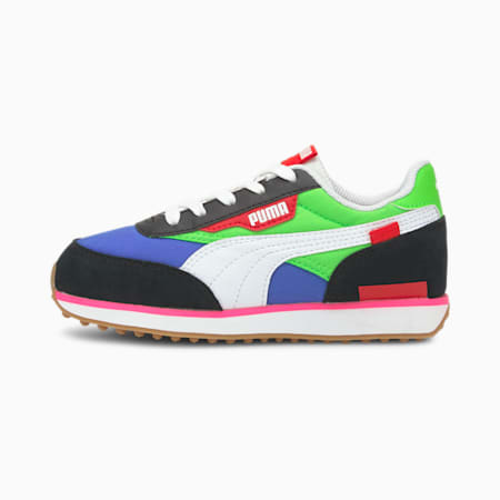 Future Rider Play On Little Kids' Shoes, PumaB-FluoGreen-DazzlingBlue, small