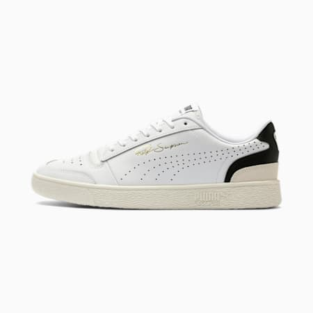 Ralph Sampson Lo Perforated Soft Trainers, Puma Wht-Puma Blk-Whispr Wht, small