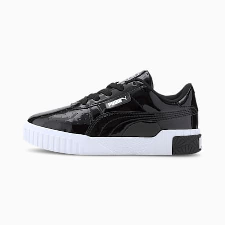 Cali Patent Kids' Trainers, Puma Black-Puma Black, small