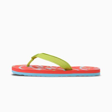 Toss Jr X2 IDP Kid's Flip Flops, HotCoral-Aquamarine-Limepunc, small-IND
