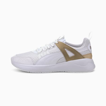 Nuage Run Cage Metallic Women's Sneakers, Puma White-Puma Team Gold, small