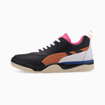 Palace Guard Leather Men's Sneakers, Puma Black-Fluo Pink-Orange, small