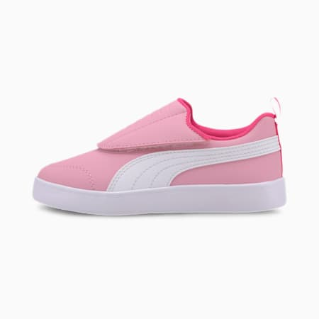 Courtflex v2 Padded V Kids' Trainers, Pale Pink-Puma White, small-SEA