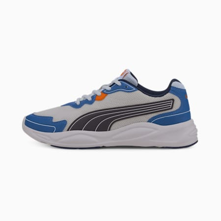 90s Runner Nu Wave Unisex  Shoes, Puma White-Peacoat-Lapis Blue-Dragon Fire, small-IND