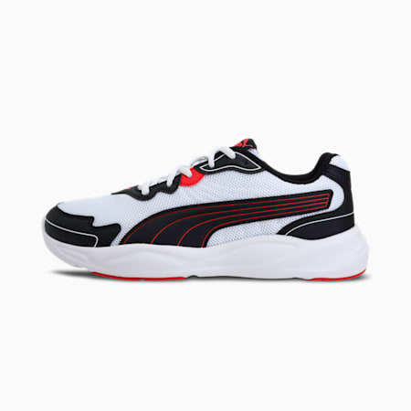 90s Runner Nu Wave Unisex  Shoes, Puma Black-Puma White-High Risk Red, small-IND