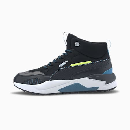 X-RAY 2 Square Mid Winter Men's Sneakers, Black-Digi-blue-Fizzy Yellow, small