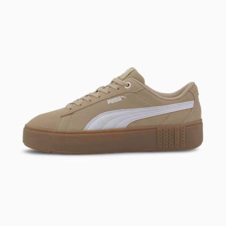 PUMA Smash Platform v2 Suede Women's Sneakers, Pale Khaki-Puma White, small