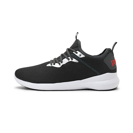 Corode Men's Running Shoes, Dark Shadow-Silver-High Risk Red, small-IND