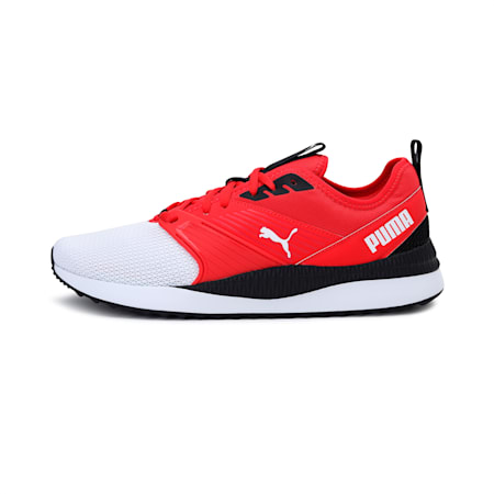 Pacer Next FFWD Unisex Running Shoe, White-HighRR-Hot Coral-Black, small-IND