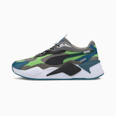 RS-X³ City Attack Youth Trainers, Ultra Gray-Summer Green, small