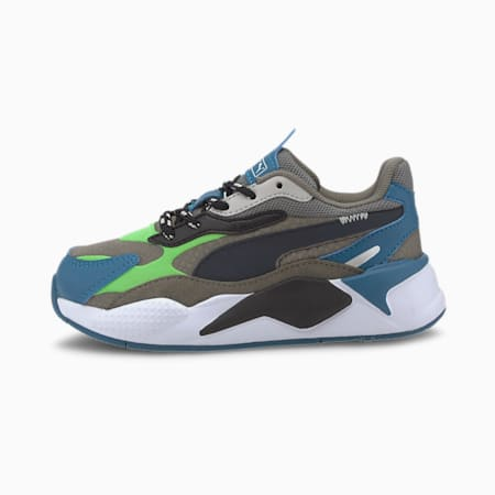 RS-X³ City Attack Little Kids' Shoes, Ultra Gray-Summer Green, small