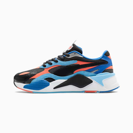 RS-X³ Level Up Trainers, Puma Black-Hot Coral, small